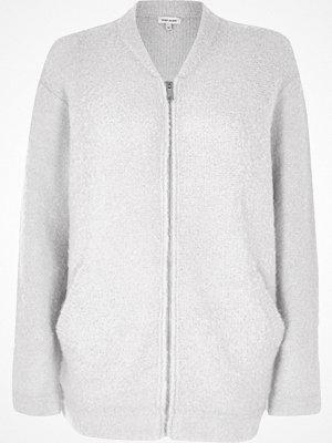 River Island Light grey fluffy bomber jacket