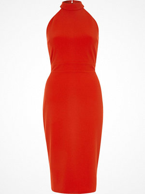 River Island Red tie back high neck bodycon dress