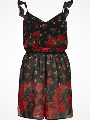 River Island Red floral print longline frill cami top