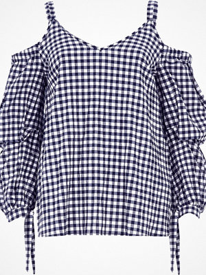 River Island Navy gingham puff sleeve cold shoulder top
