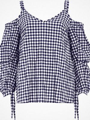 Toppar - River Island Navy gingham puff sleeve cold shoulder top