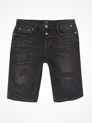 River Island Black ripped skinny denim shorts