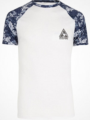 T-shirts - River Island Big and Tall white and blue raglan T-shirt