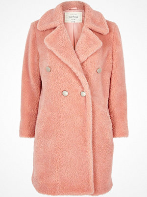 Kappor - River Island Pink borg double-breasted coat