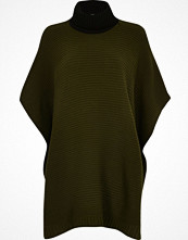 Kappor - River Island Khaki colour block ribbed poncho