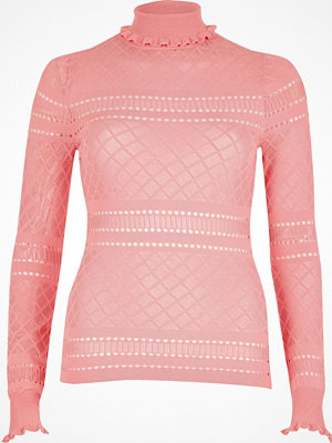 River Island Pink ruffle turtleneck jumper