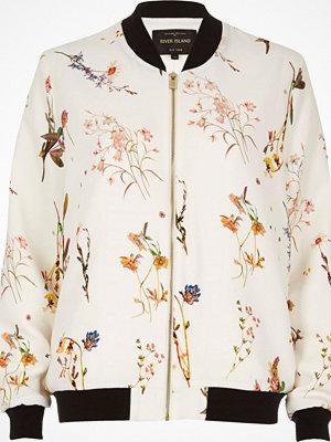 River Island White floral print bomber jacket