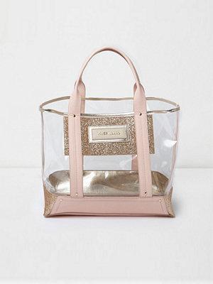Handväskor - River Island Pink perspex glitter panel beach tote bag