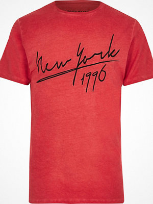 T-shirts - River Island Red 'New York' embroidered T-shirt