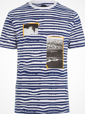 T-shirts - River Island White and blue stripe photo print T-shirt
