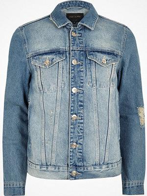 Jackor - River Island Light blue distressed denim jacket