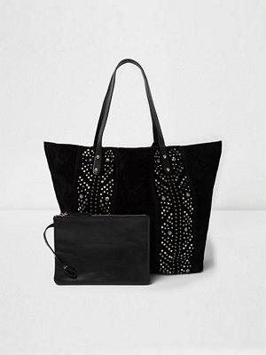 Handväskor - River Island Black suede studded tote bag