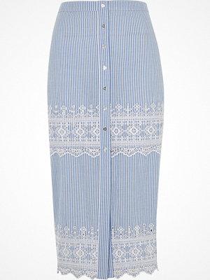 Kjolar - River Island Blue stripe embroidered midi skirt