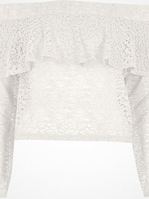 River Island River Island Womens Cream lace frill bardot long sleeve top