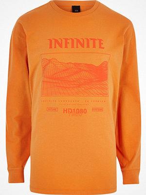 T-shirts - River Island Orange 'infinite' print long sleeve T-shirt