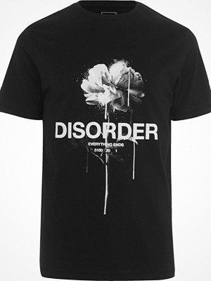 T-shirts - River Island Black 'disorder' rose print slim fit T-shirt