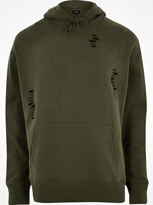 Street & luvtröjor - River Island Dark green distressed hoodie