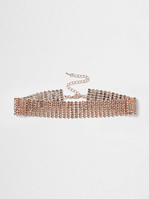 Chokers - River Island Rose gold tone cup chain choker