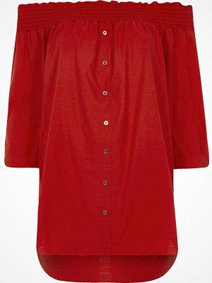 River Island Red shirred bardot shirt