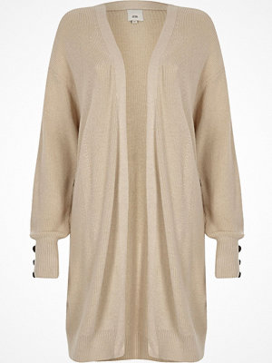 Cardigans - River Island Stone knit longline button side cardigan
