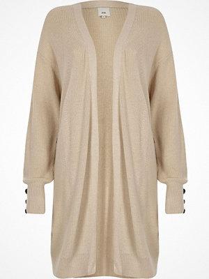 Cardigans - River Island Stone knit longline button side cardigan