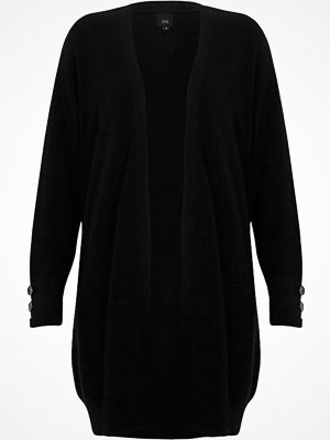 River Island Black knit longline button side cardigan