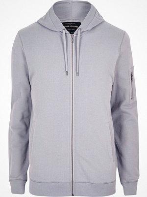 Street & luvtröjor - River Island Grey zip front hoodie