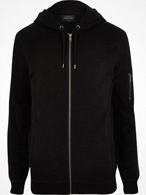 Street & luvtröjor - River Island Black zip up hoodie