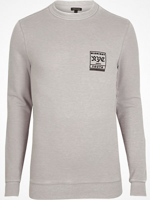 River Island River Island Mens Grey 'NYC' burnout muscle fit sweatshirt