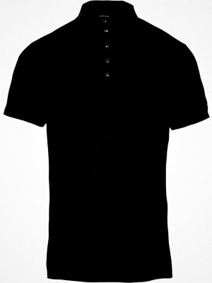 Pikétröjor - River Island Black muscle fit ribbed polo shirt
