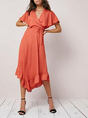 River Island Dark orange wrap asymmetric hem midi dress