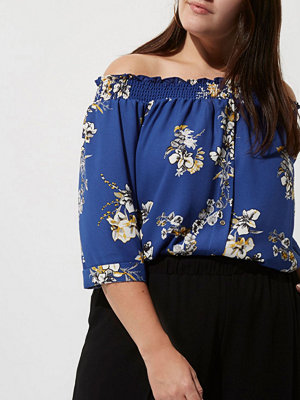 River Island Plus blue floral print shirred bardot shirt
