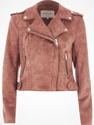River Island River Island Womens Pink faux suede biker jacket