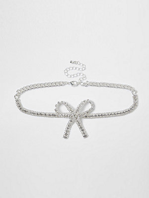 Chokers - River Island River Island Womens Silver bow diamante encrusted choker