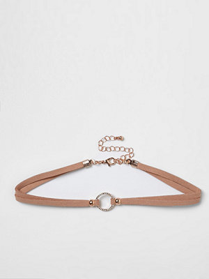 Chokers - River Island River Island Womens Light Pink diamante ring choker