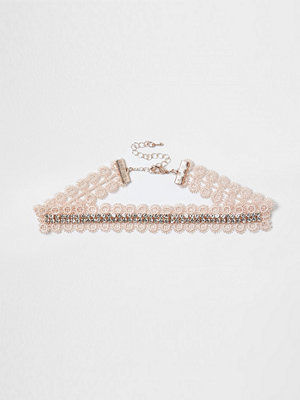 Chokers - River Island Pink lace diamante cup chain choker