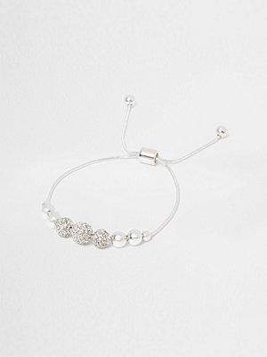River Island armband Silver tone diamante bead lariat bracelet