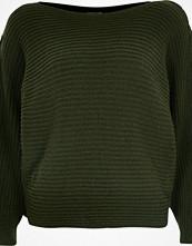 River Island Khaki knit tie sleeve grazer jumper