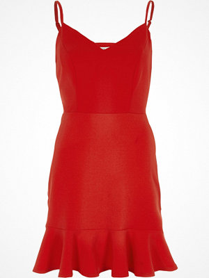 River Island Red strappy pepum frill hem bodycon dress