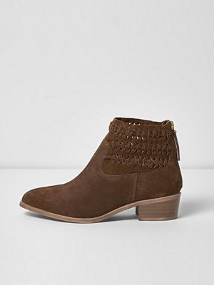 Boots & kängor - River Island Brown suede woven boots
