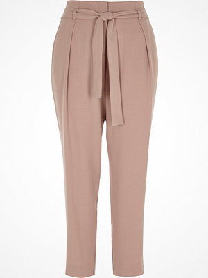 Byxor - River Island Pink tapered tie waist trousers