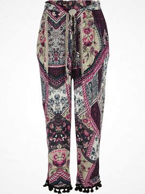 Byxor - River Island Pink patchwork print tapered trousers