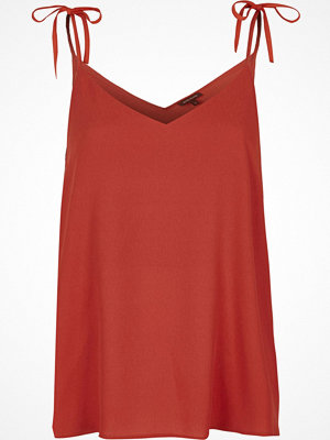 River Island Dark orange bow shoulder cami top