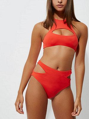 River Island Red high waisted cut out bikini bottoms