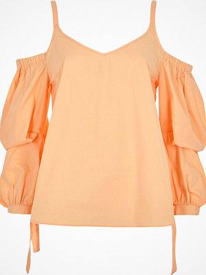 River Island Petite orange puff sleeve cold shoulder top