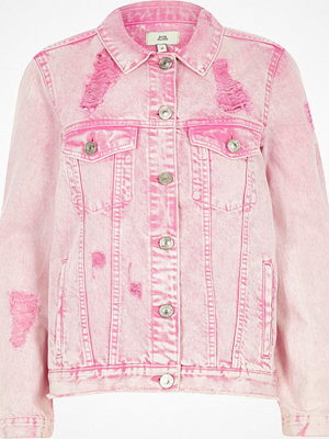 River Island Pink acid wash ripped oversized denim jacket