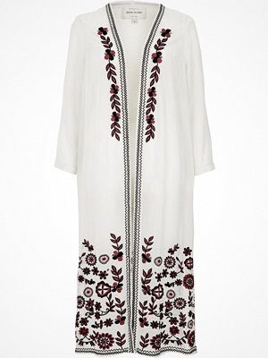 River Island White floral embroidered longline duster coat