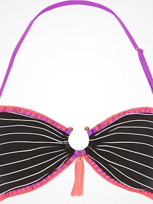 River Island Black stripe ring front bandeau bikini top