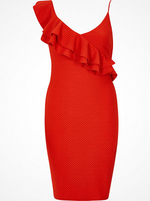 River Island Red textured frill shoulder bodycon dress