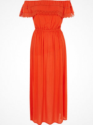 River Island Orange bardot frill maxi dress